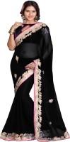 Sourbh Sarees Self Design Fashion Chiffon Saree(Black)