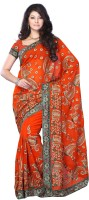 JTInternational Self Design Fashion Jacquard, Georgette Saree(Orange)