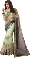Saara Embroidered Fashion Lycra Saree(Grey, Green)