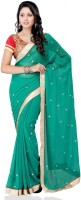 Meghdoot Self Design Fashion Chiffon Saree(Dark Green)