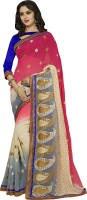 Khoobee Self Design, Embroidered, Embellished Fashion Poly Georgette Saree(White, Pink, Grey)