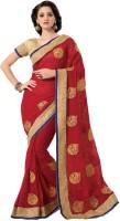 M.S.Retail Self Design Fashion Chiffon Saree(Red)