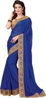 M.S.Retail Embroidered Fashion Chiffon Saree(Blue)