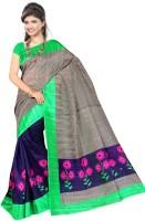 Khoobee Self Design, Printed Fashion Poly Silk Saree(Dark Blue)