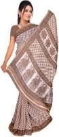 Jiya Self Design Fashion Poly Georgette Saree(Beige)