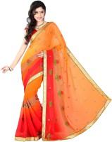 Khoobee Embroidered Fashion Chiffon Saree(Orange)