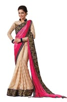 Chirag Sarees Embroidered Fashion Net Saree(Pink)