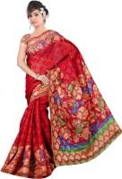 Khoobee Printed Bhagalpuri Cotton Blend Saree(Red)