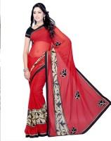 Suvastram Printed Daily Wear Georgette Saree(Red)
