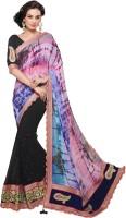 Admyrin Self Design Fashion Georgette, Chiffon Saree(Black)
