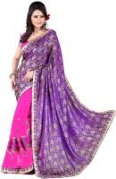 Jiya Self Design, Embroidered Fashion Poly Georgette Saree(Purple, Pink)