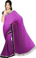 Sonal Trendz Embroidered Bollywood Chiffon Saree(Purple)