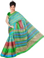 Khoobee Striped Bhagalpuri Art Silk Saree(Green)