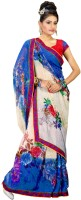 Khoobee Printed Fashion Poly Georgette Saree(Multicolor, Blue)