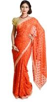 Ethnic Bliss Lifestyles Self Design Phulkari Chiffon Saree(Orange)