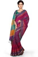 Devi Handlooms Woven Mangalagiri Handloom Cotton Blend Saree(Blue)