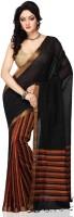 Devi Handlooms Woven Mangalagiri Handloom Cotton Blend Saree(Black)