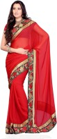 JTInternational Solid, Self Design Fashion Chiffon Saree(Red)