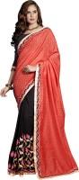 Khoobee Self Design, Embroidered, Embellished Fashion Cotton Blend, Chiffon Saree(Red, Black)