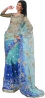Rajshri Fashions Embroidered Bollywood Net Saree(Blue)