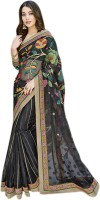 Vishal Printed, Embroidered Fashion Brasso Saree(Black)