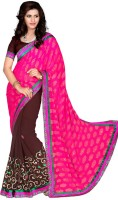 Rozdeal Embroidered Daily Wear Jacquard Saree(Brown, Pink)