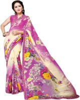 Vibes Printed Fashion Georgette Saree(Pink)