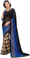 Indianbeauty Printed, Solid Bollywood Pure Georgette Saree(Black, Blue)