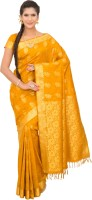 Thara Sarees Self Design Kanjivaram Art Silk Saree(Mustard)