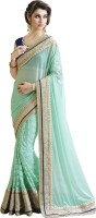 Saara Self Design Fashion Lycra Saree(Green)
