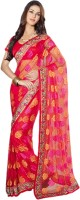 Vishal Solid Fashion Brasso Saree(Red)