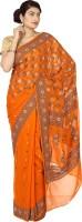 Zain Textiles Woven Banarasi Handloom Pure Chiffon Saree(Orange)