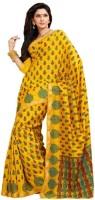 Meghdoot Printed Fashion Poly Silk Saree(Yellow)