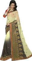Khoobee Self Design, Embroidered, Embellished Fashion Chiffon Saree(White, Grey, Yellow)