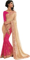 Vishal Solid Fashion Chiffon Saree(Pink)