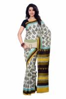 Tantuja Printed Fashion Handloom Silk Saree(White, Black)