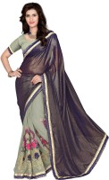 Jiya Self Design, Embroidered, Embellished Fashion Chiffon Saree(Brown, Grey)