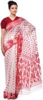 Purabi Woven Jamdani Handloom Cotton Saree(White, Red)