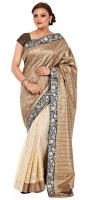 Kataan Bazaar Self Design Banarasi Handloom Net Saree(Brown)