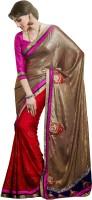 Rajshri Fashions Applique Fashion Satin Saree(Beige)