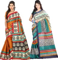 Lookslady Striped Fashion Silk Saree(Pack of 2, Multicolor)