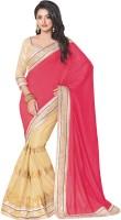 Saara Printed Fashion Silk Saree(Gold, Pink)