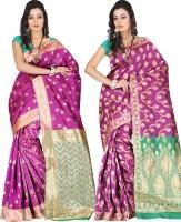 Indi Wardrobe Woven Banarasi Handloom Banarasi Silk Saree(Pack of 2, Pink, Pink)