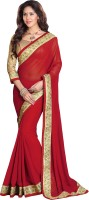 Sourbh Sarees Solid Bollywood Georgette Saree(Red)