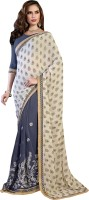 Khoobee Self Design, Embroidered, Embellished Fashion Cotton Blend, Poly Georgette Saree(Beige, Grey)