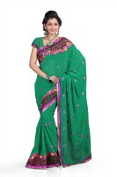 Chirag Sarees Self Design Fashion Chiffon Saree(Green, Pink)