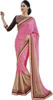 Melluha Embroidered Fashion Chiffon Saree(Pink)