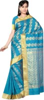 M.S.Retail Embellished Arani Pattu Handloom Silk Saree(Blue)