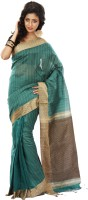 SSMITN Striped Jamdani Cotton Saree(Green, Brown)