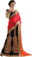 Khushali Self Design, Embroidered Fashion Net, Satin, Jacquard, Silk Saree(Red, Orange, Black, Beige)